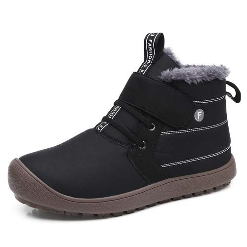 (aeepd Mens Snow Boots Women Winter Anti-Slip Ankle Booties Outdoor Water-Resistant Fur Lined Shoes Black)