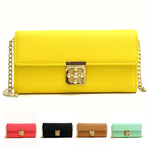 Dasein Leather Fashion Gold-Tone Simple Clutch Wallet - Yellow