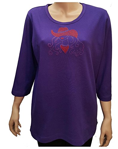 Ladies Scoop Neck Rhinestone Tee (Red Hat Society Cowgirl Bling Rhinestone Purple Shirt with Scoop Neck (1X))