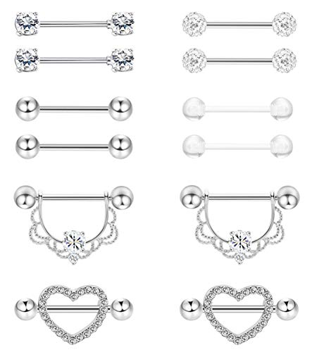 (Masedy 6 Pairs 14G 316L Stainless Steel Nipplerings Nipple Tongue Rings Women Girls CZ Barbell Body Piercing Jewelry Silver)