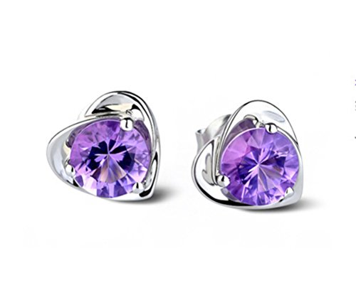 Pomelo Women Earring 925 Sterling Silver Heart Shape Purple Crystal Diamonds Ear Clips