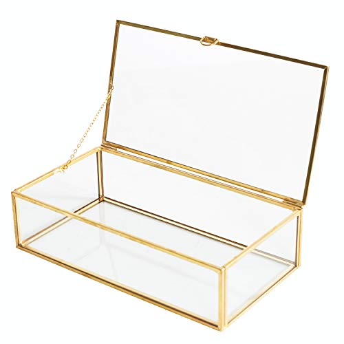 Golden Vintage Glass Lidded Box Edge Bracelet Keepsake Decorative Jewelry Display Personalized Large Clear Rectangle Box Rings Bracelet Golden Organizer Home Decor