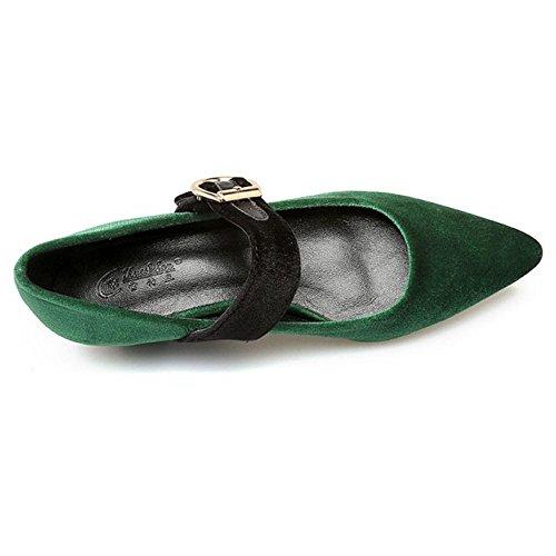 green Chaussures Ballerine RAZAMAZA Confort Femmes Cheville Bride SYtqPOx