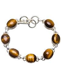 """StarGems(tm) Natural Tiger Eye Handmade Vintage 925 Sterling Silver Bracelet 6 1/4-7 1/4"""""""