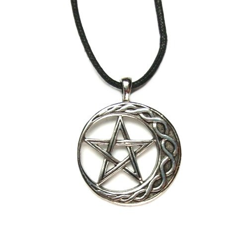 Amazon wiccan pentagram on moon for stability pendant with amazon wiccan pentagram on moon for stability pendant with black corded necklace jewelry aloadofball Gallery