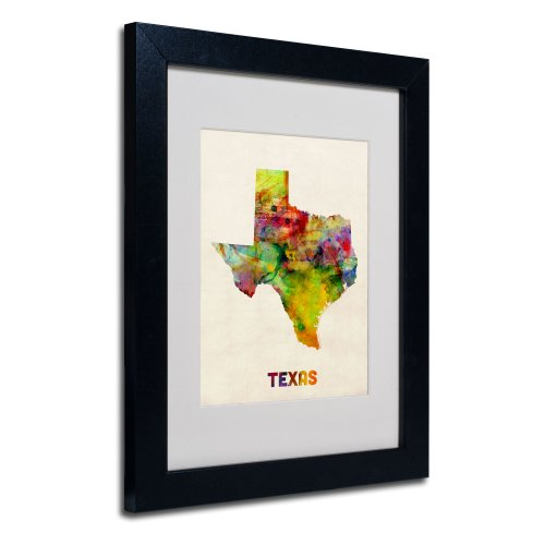 Trademark Fine Art Texas Map Matted Framed Art by Michael Tompsett in Black Frame, 11 by 14-Inch ()