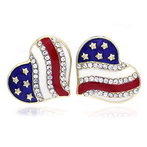 (Patriotic Red White Blue American USA Flag Star Dangle Drop Earrings 4th of July Independence Day Gift (Gld Heart Stud))