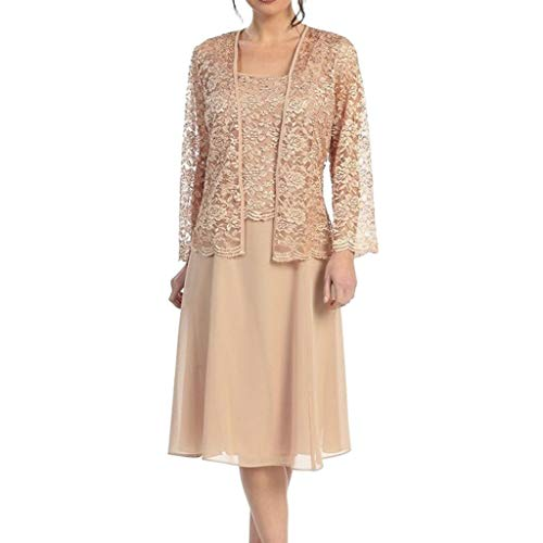 Two-Piece New Plus Size Dress, QIQIU Women's Elegant Chiffon Lace Patchwork Long Sleeve Solid Loose Hem Casual Dres Beige