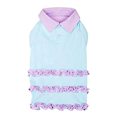 Blueberry Pet Pack of 1 Dog T-Shirt Ruffle Polo Dress Bow Dress Design from Blueberry Pet
