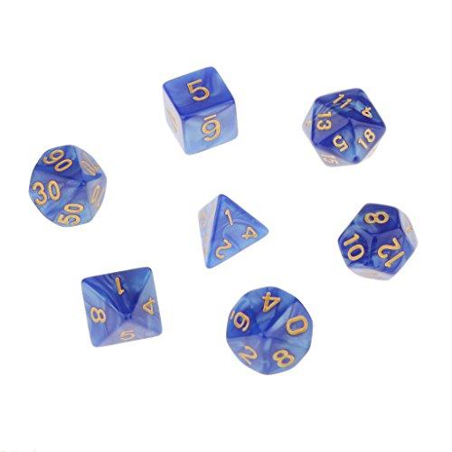 7pcs Mehrseitige Würfel Trpg Spiele Dungeons & Drachen D4-d20 Würfel - Blau