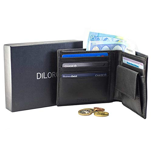 Wallet with a Generous Coin Compartment, Back-Slip Pocket and Strong RFID Protection Color Black 2401-BK ()