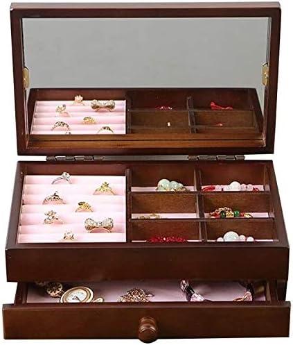 Suge Las Mujeres joyería Simple Caja de 2 Capas de Lana de Joyas Caja de Collar