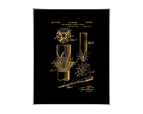 Screwdriver Gold Foil Patent Illustration. 36 Colours. Tool Poster. Carpenter Construction Art