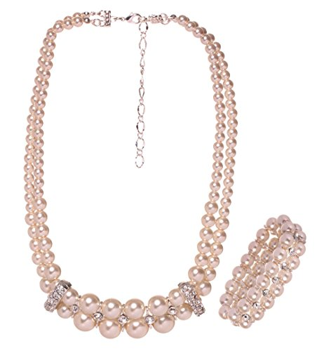 2PCS HONEYJOY Women's Bridal Jewelry Sets Freshwater Beads Strand Necklace & Peals Bracelet (Beige)