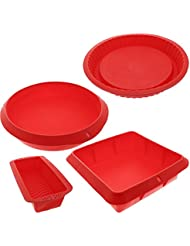 "Bakeware Set - Baking Molds - 4 Nonstick Silicone Bakeware Set with Round, Square, and Rectangular Pans for Pies, Cakes, Loaf, and More - Red - Sizes: 11"", 10"", 9"", and 8""."