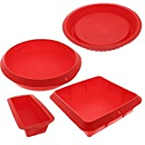 Bakeware Set - Baking Molds - 4 Nonstick Silicone Bakeware Set with Round, Square, and Rectangular Pans for Pies, Cakes, Loaf, and More - Red - Sizes: 11
