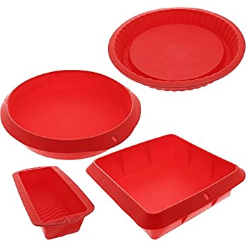 """Bakeware Set - Baking Molds - 4 Nonstick Silicone Bakeware Set with Round, Square, and Rectangular Pans for Pies, Cakes, Loaf, and More - Red - Sizes: 11"""", 10"""", 9"""", and 8""""."""