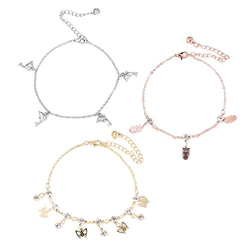 Shop LC Delivering Joy Set of 3 Anklet Round White Crystal Rosetone & Goldstone Jewelry for Women ()