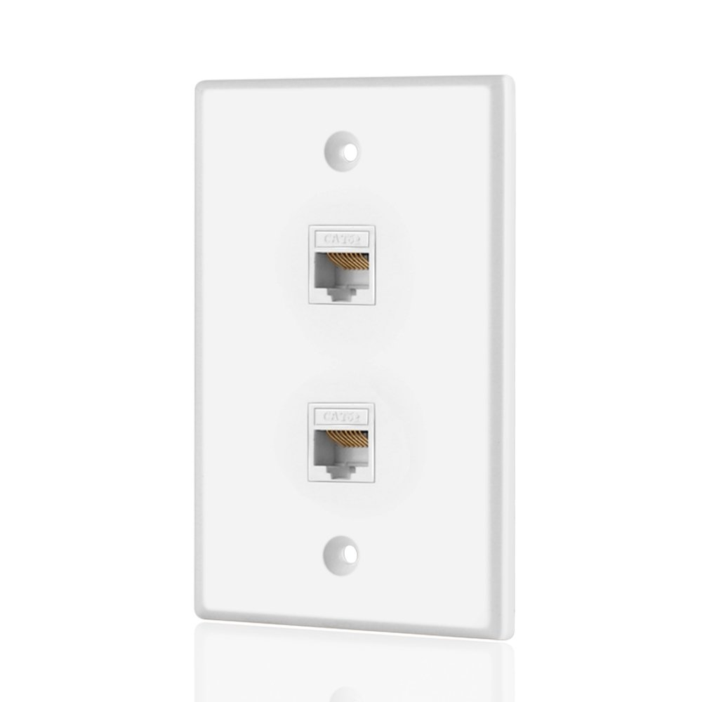 Amazon.com: TNP Ethernet Network Cat5E Wall Plate - Dual (2 Port) RJ45 Connector  Socket Wiring Plug Jack Decorative Face Cover Outlet Mount Panel Female to  ...