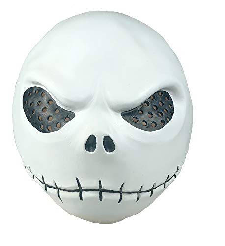 (NECHARI Christmas Skellington Mask Full Head Latex Flexible Helmet)