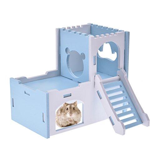 Midsummer Hamster Sleeping Nest/Golden Hamster Guinea Pig Detachable Deluxe Two Layers Wooden Sleeping House (Blue) (Pig Guinea Deluxe)