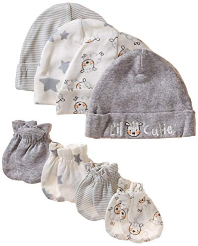 Mitten 3 Set Piece (Gerber Baby 8-Piece Organic Cap and Mitten Set, Sheep, 0-6 Months)