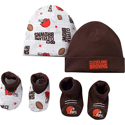 - NFL Cleveland Browns Unisex-Baby 4-Piece Cap & Bootie Set, Brown, 0-6 Months
