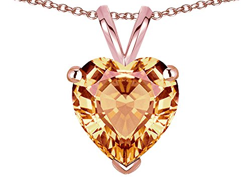 - Star K 8mm Heart Simulated Imperial Yellow Topaz Pendant Necklace 14 kt Rose Gold
