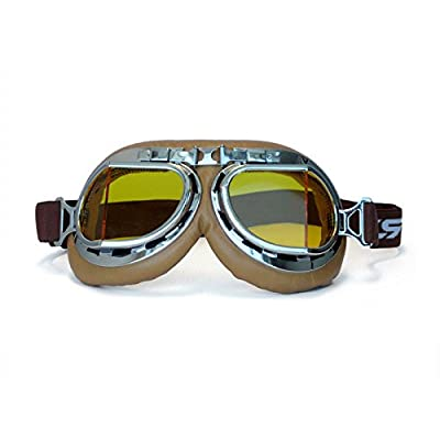 CRG Sports Vintage Aviator Pilot Style Motorcycle Cruiser Scooter Goggle T08 T08SYN Yellow lens, silver frame, brown padding: Sports & Outdoors