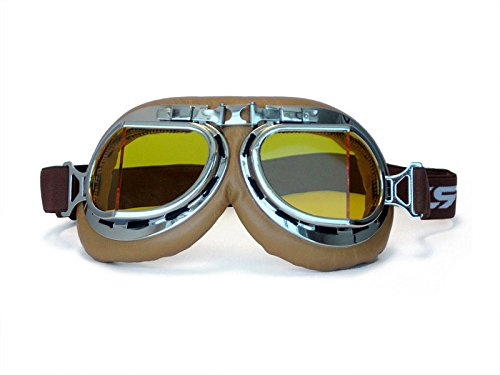 CRG Sports Vintage Aviator Pilot Style Motorcycle Cruiser Scooter Goggle T08 T08SYN Yellow lens, silver frame, brown padding