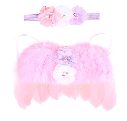 Rush Dance Newborn Photography Fairy Angel Tinkerbell Princess Wings & Headband (Pink with Lavender and White)]()
