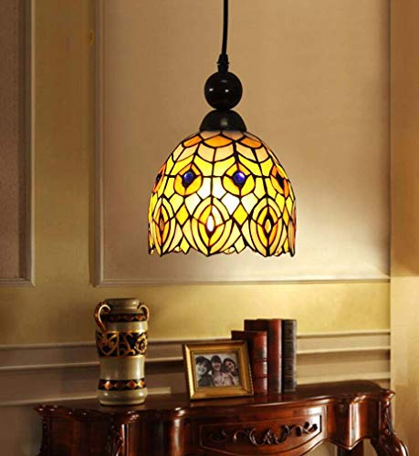 Tiffany Style Hanging Lamp, Stained Glass Art Shade Single Head 1-Light Pendant Light for Bar Wine House Mini Lighting Fixtures Alloy, ()