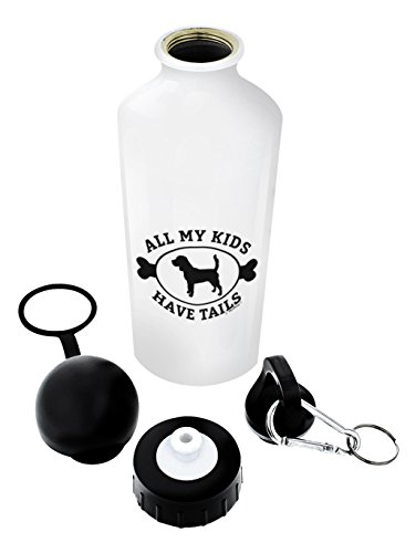 Beagle Gifts for Women All My Kids Have Tails Beagle Themed Gifts Dog Beagle Lover Gift Aluminum Water Bottle with Cap & Sport Top White