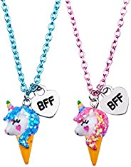 SkyWiseWin Best Friend Necklace for Kids, Color BFF Unicorn Necklace for Children's Pack