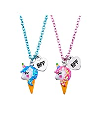 Skywisewin Unicorn Pendant Necklace Children, Ice Cream Unicorn Pendant Necklace Kid's Best Friend Jewelry - 2 Pair