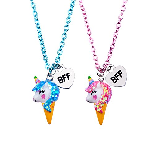 SkyWiseWin Best Friend Necklace for Kids, Color BFF Unicorn Necklace for Children's Pack of 2 ()