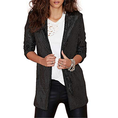 Vero Viva Women's Sparkly Sequin Open Front Jacket Coats Long Sleeve Midi -