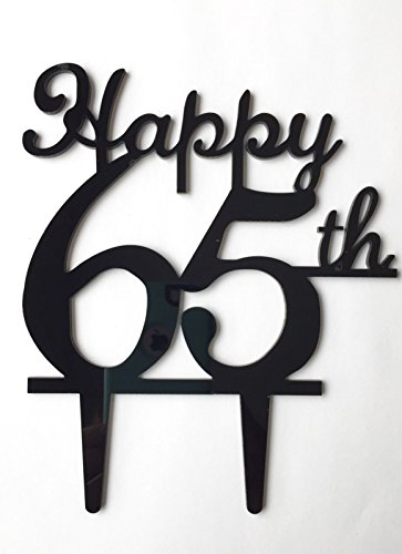 Happy 65th Birthday Anniversary Number Cake Topper Party Decoration Favor Sign