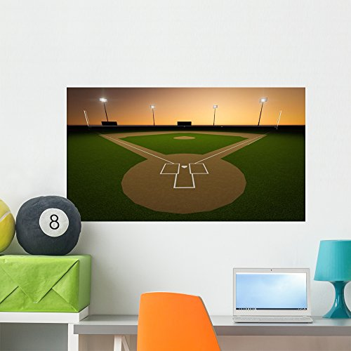 Wallmonkeys Sunset Baseball Stadium Wall Mural Peel and Stick Decals for Boys (36 in W x 20 in H) WM124682