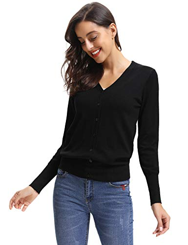 Bol Chic Jersey Longues Abollria Boutons Cardigan avec Manches Femme Tricot Gilet xvBvq8Aw7