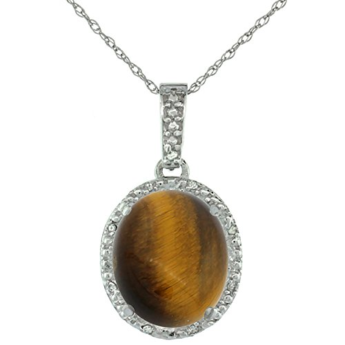 10K White Gold Diamond Halo Natural Tiger Eye Necklace Oval 12x10 mm, 18 inch ()