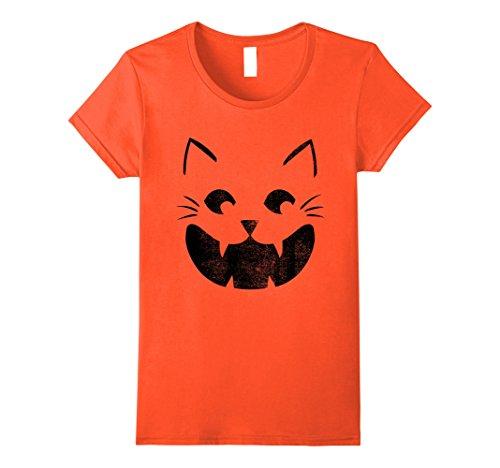Jack O Lantern Costumes Tshirt (Womens Cat Pumpkin Face Halloween Costume Jack O Lantern T-shirt XL Orange)