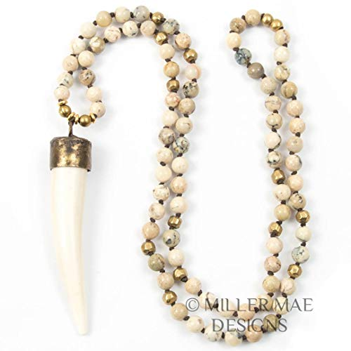 Golden Soldered Capped White Horn Pendant Necklace with White African Opals and Turkish Brass Accents - 33 Inches Handmade Necklace by Miller Mae Designs