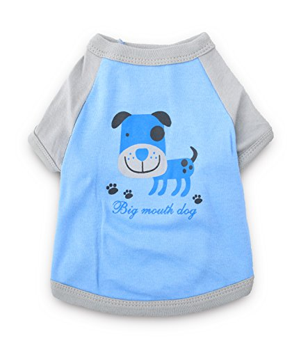 DroolingDog Dog Tee Shirt Puppy Clothes Pet Dogs Tshirt for Small Dogs Boy, Small, Blue