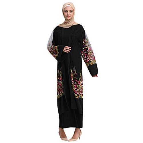 Muslim Abaya Caftan Dubai Dress for Women Islamic Clothing Rayon Gown Jalabiyas, Womens Sweatshirt Casual Hoodie Maxi Dress Kaftan Solid Vintage Abaya Muslim Robes Moroccan Gown Black