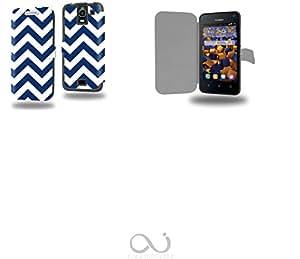 Chevron Bleu Collection Pattern Funda de Cuero para Huawei Y3 Y360 Flip Case Cover (Estuche) PU Cuero - Accesorios Case Industry Protector