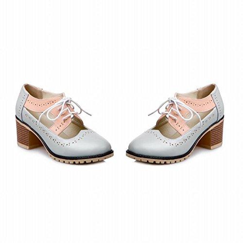 Carolbar Mujeres Con Cordones De Moda Cute Mid Heel Oxfords Zapatos Gris