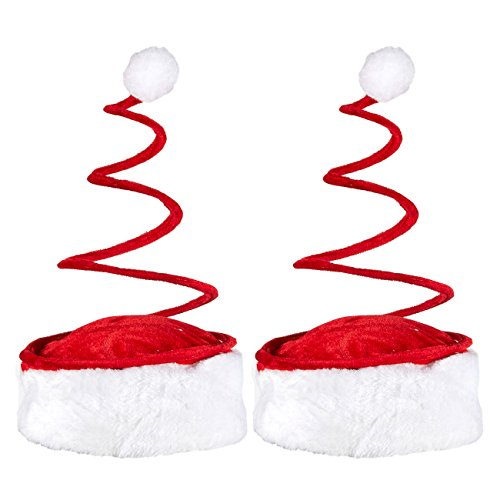 Set of 2 Christmas Hats - Spiral Santa Hats - Fun Party Hats for Adults and Kids Alike -
