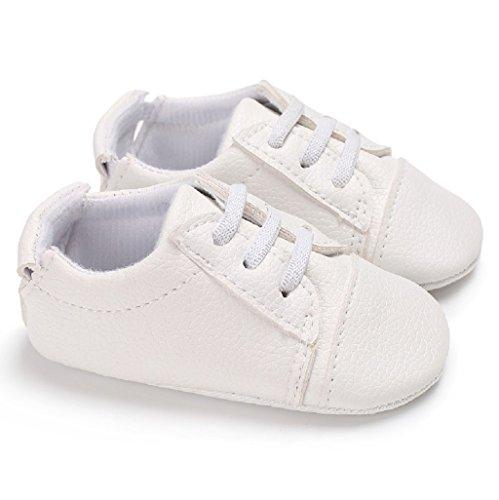 Baby Schuhe Für 0-18 Monate,Auxma Baby Jungen Mädchen PU Leder Schuhe Soft Sohle Prewalker Sneakers (12cm/6-12 M, Weiß) Weiß