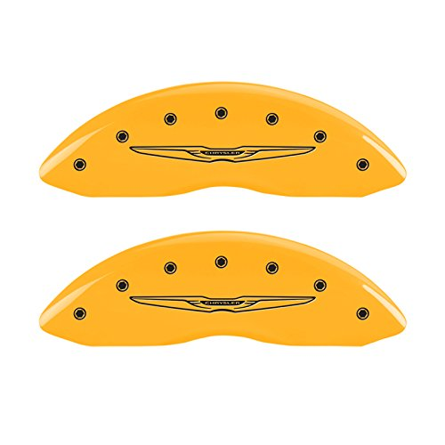 MGP Caliper Covers 32016SCW2YL Caliper Cover (Set of 4, Engraved Front and Rear: Style 2/Chrysler Wing, Yellow powder coat finish, black characters), 4 Pack